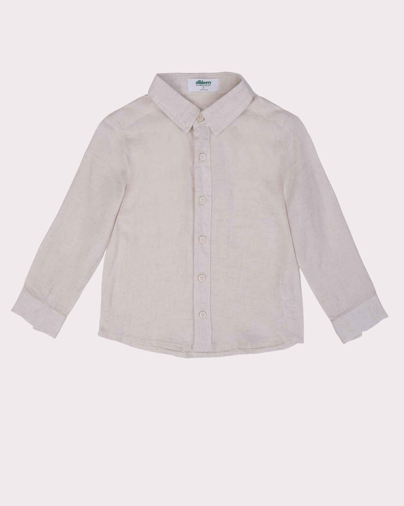 Linen Beach Shirt in Sand Front