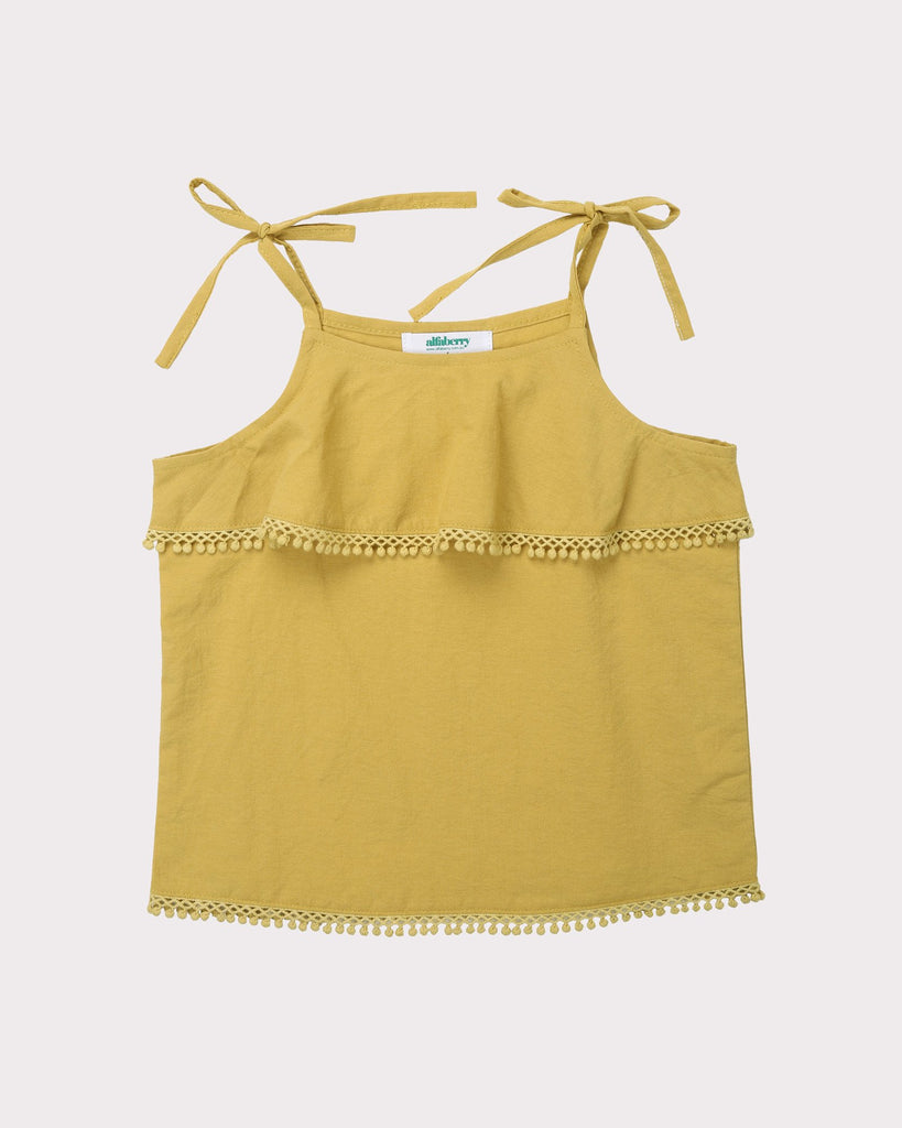 Linen Strappy Top In Mustard Front