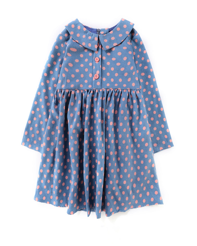 Long Sleeve Shirt Dress Pink Dot Blue