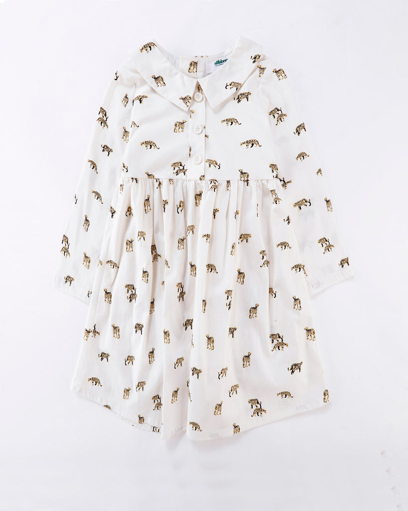 Long Sleeve Shirt Dress Roar Print in White Front