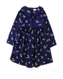 Long Sleeve Shirt Dress Roar Print in Navy Front