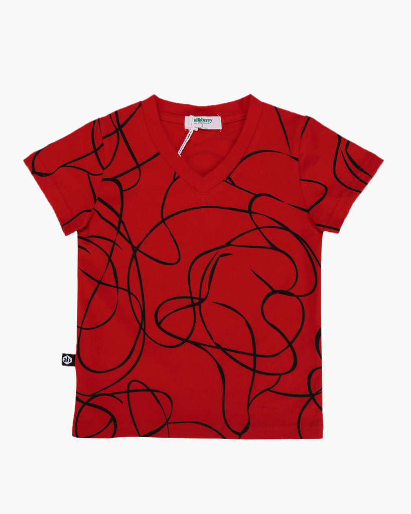 Swirls V- Neck Tee Red Front
