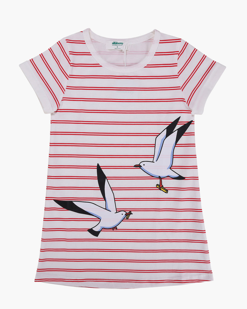 T-Shirt Dress in Seagulls & Stripes Print Red Front