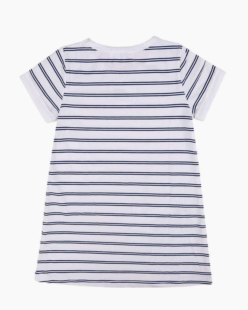 T-Shirt Dress in Seagulls & Stripes Print Navy Back