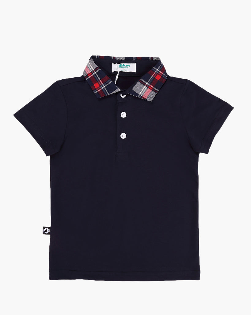 Tartan Trimmed Polo Tee Navy Front