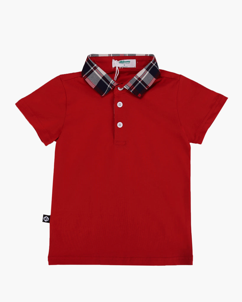 Tartan Trimmed Polo Tee Red Front