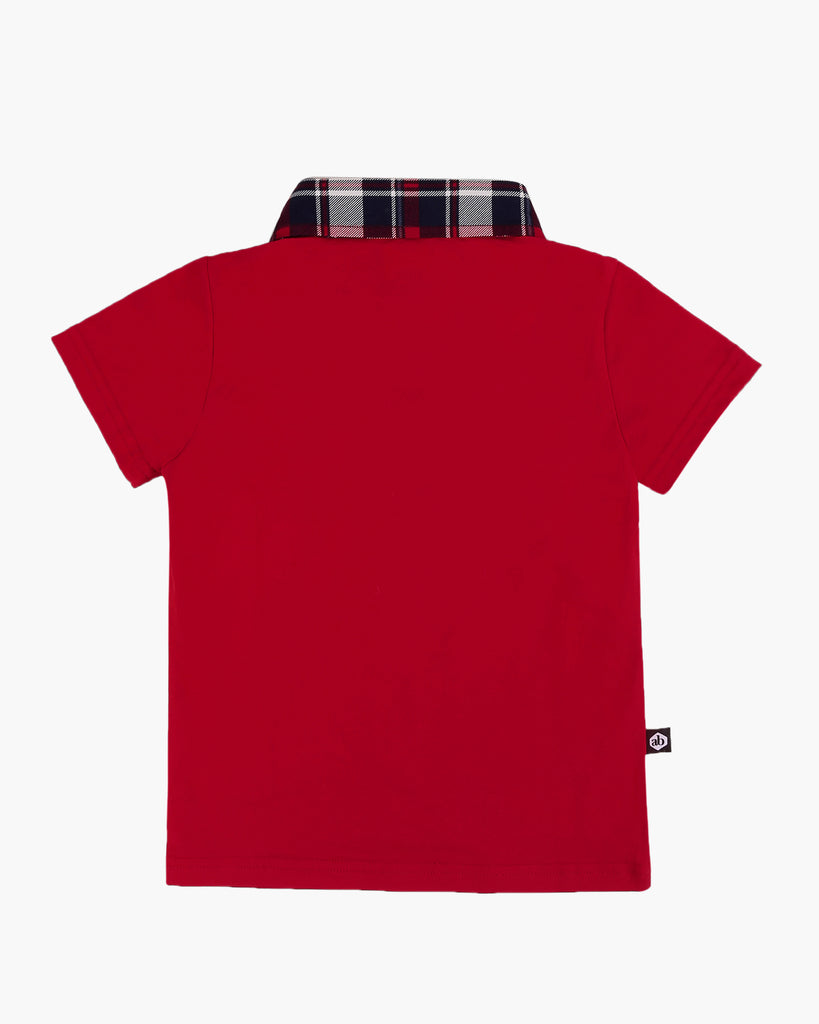 Tartan Trimmed Polo Tee Red Back