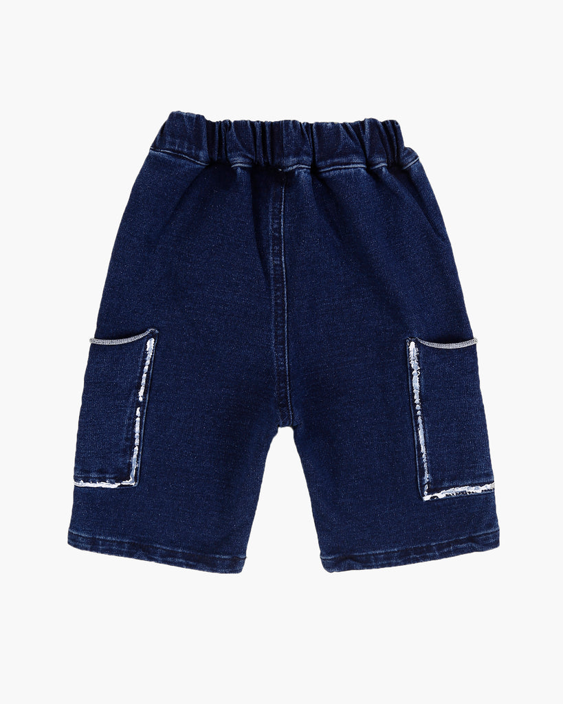 Washed Denim Jersey Short Back