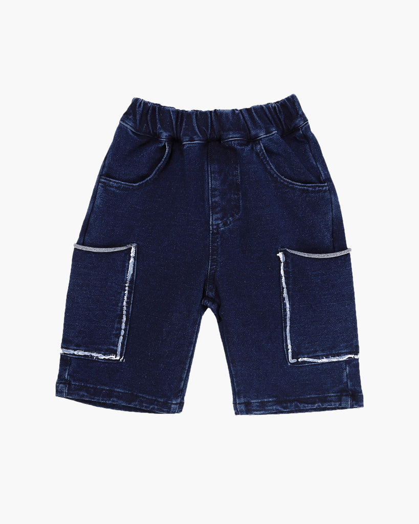 Washed Denim Jersey Short Front