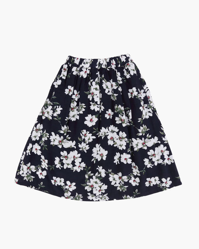 Floral Skirt Navy Front