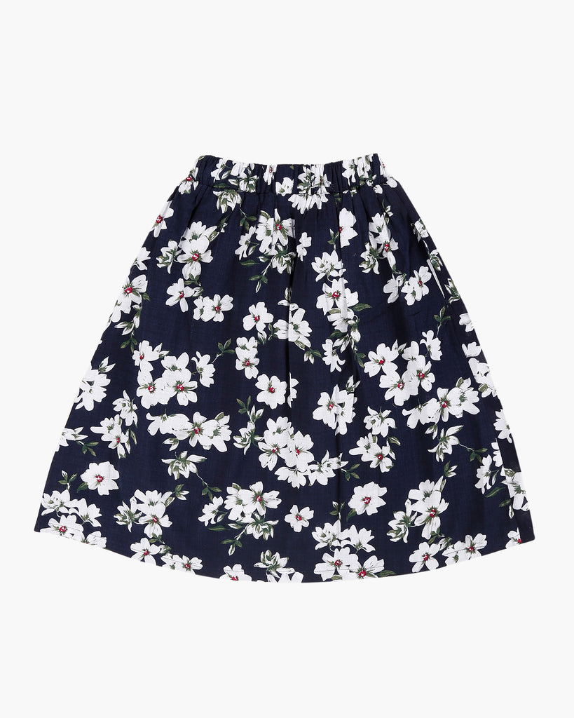 Floral Skirt Navy Back