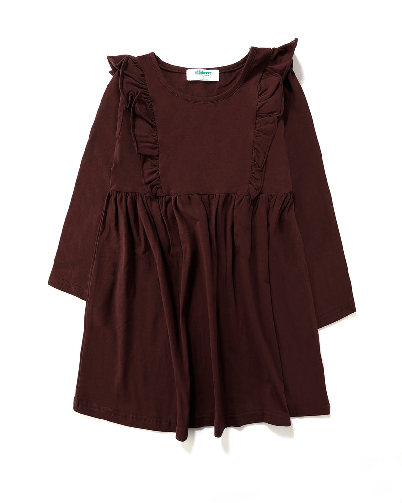Luana Frill Dress in Mulberry Front