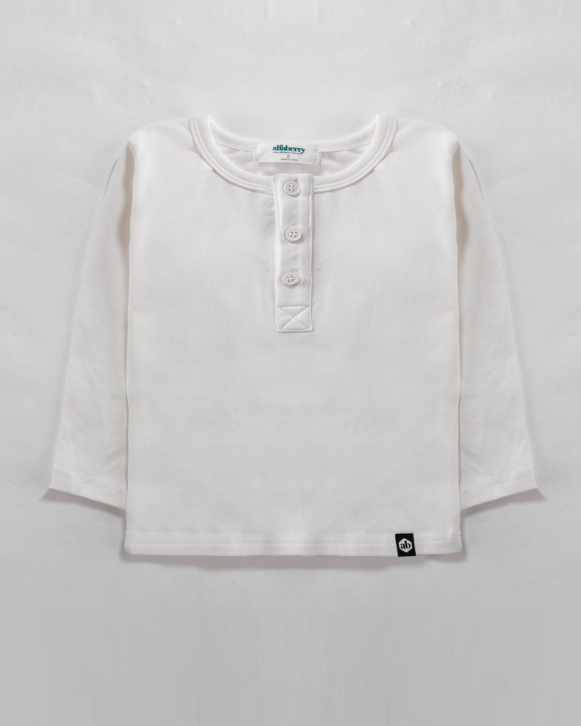 Long Sleeve Henley Tee in Ivory