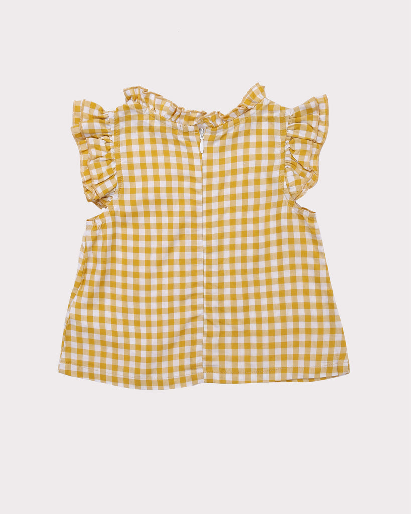 Mini Ruffle Gingham Top in Yellow back
