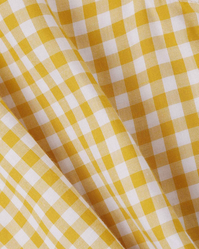 Mini Ruffle Gingham Top in Yellow detail
