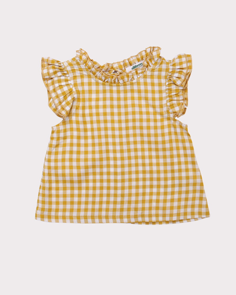 Mini Ruffle Gingham Top in Yellow front
