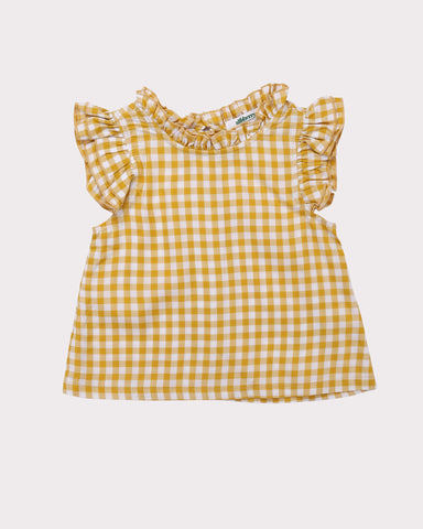 Mini Ruffle Gingham Top in Black