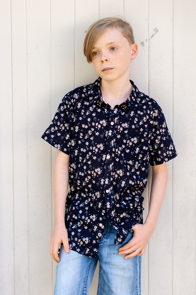 Clover Field Shirt in Navy on Model