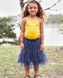 Tiered Tulle Skirt In Navy and Silver Trims Detail