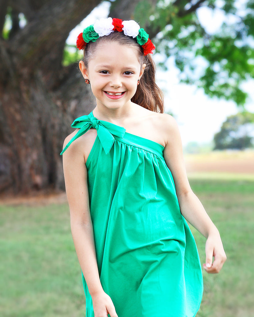 One Shoulder Dress Jersey - Green on Model