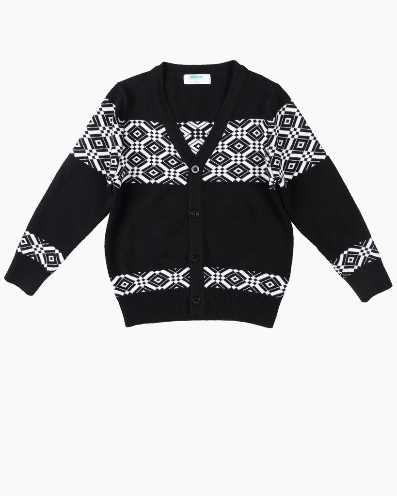 Patterned Cardi Black Front