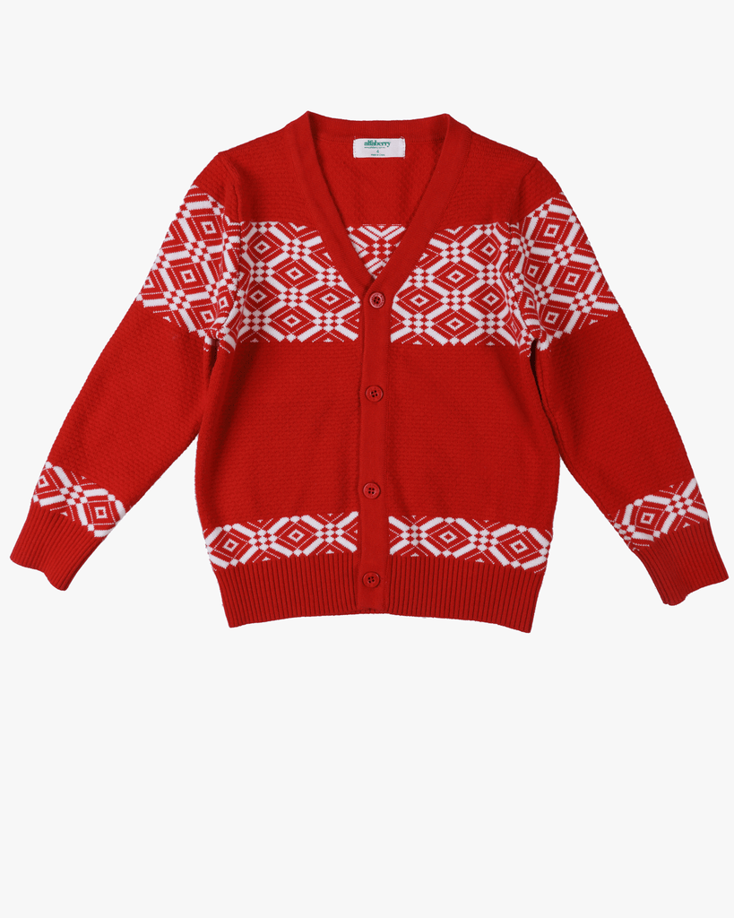 Patterned Cardi Red Front