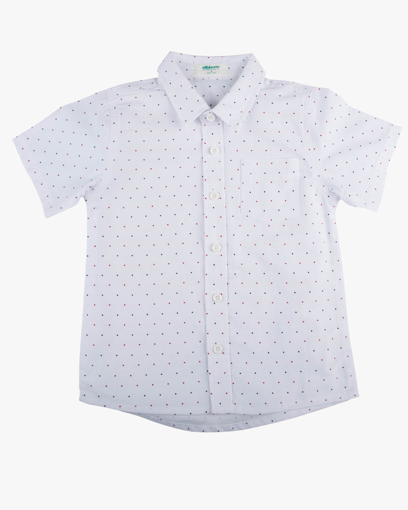 Pin Dot Print Shirt white