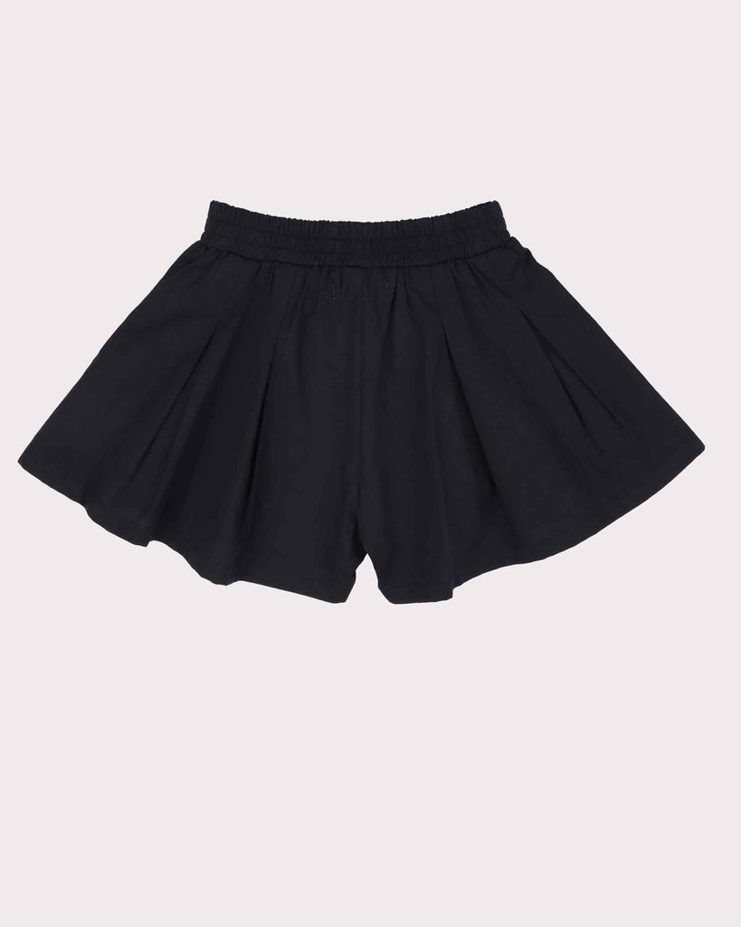 Pleated Short Block Colour in Black Back