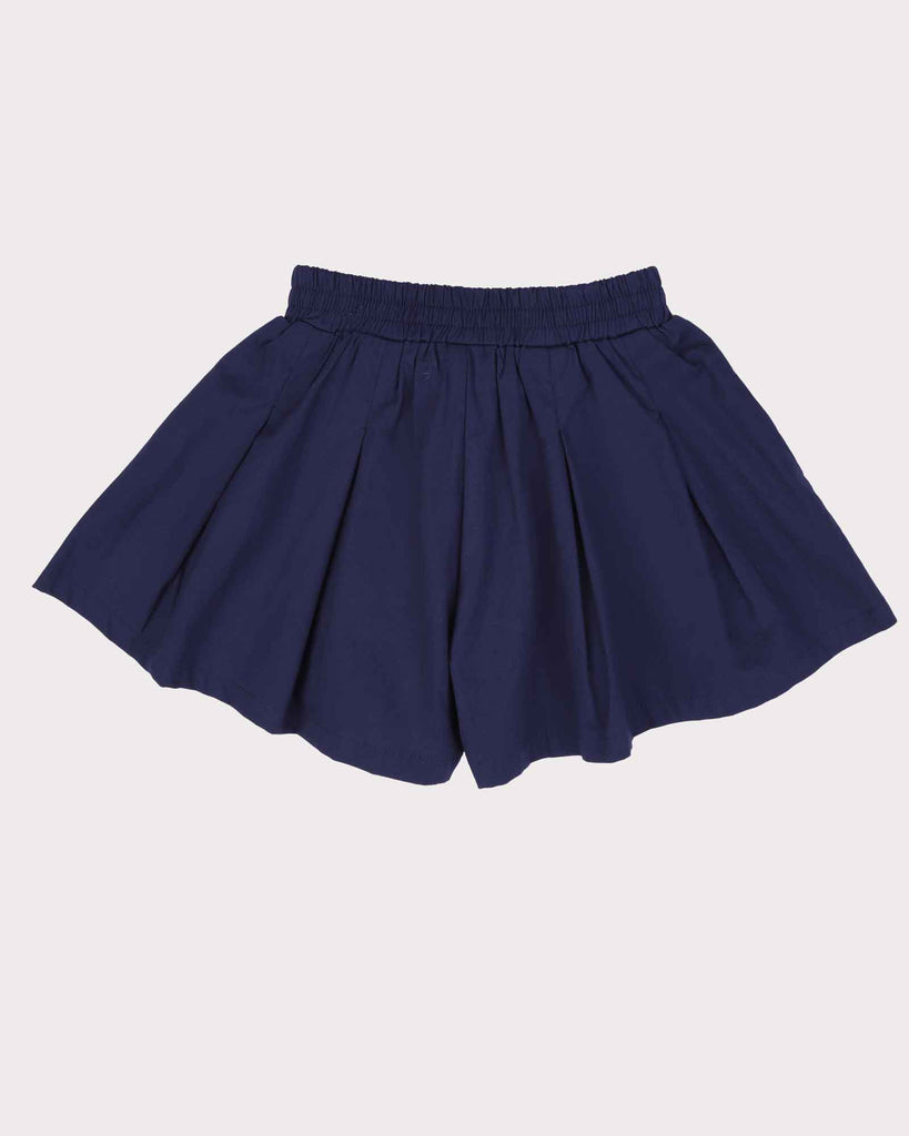 Pleated Short Block Colour in Navy Back