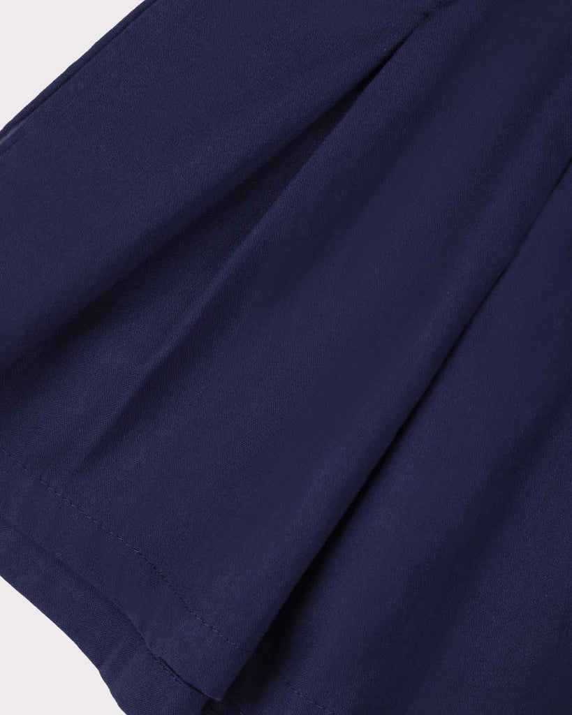 Pleated Short Block Colour in Navy Detail