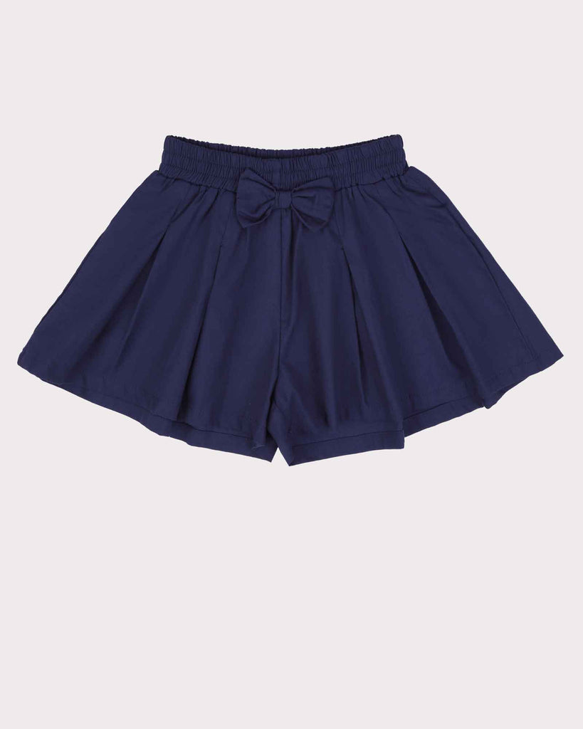 Pleated Short Block Colour in Navy Front