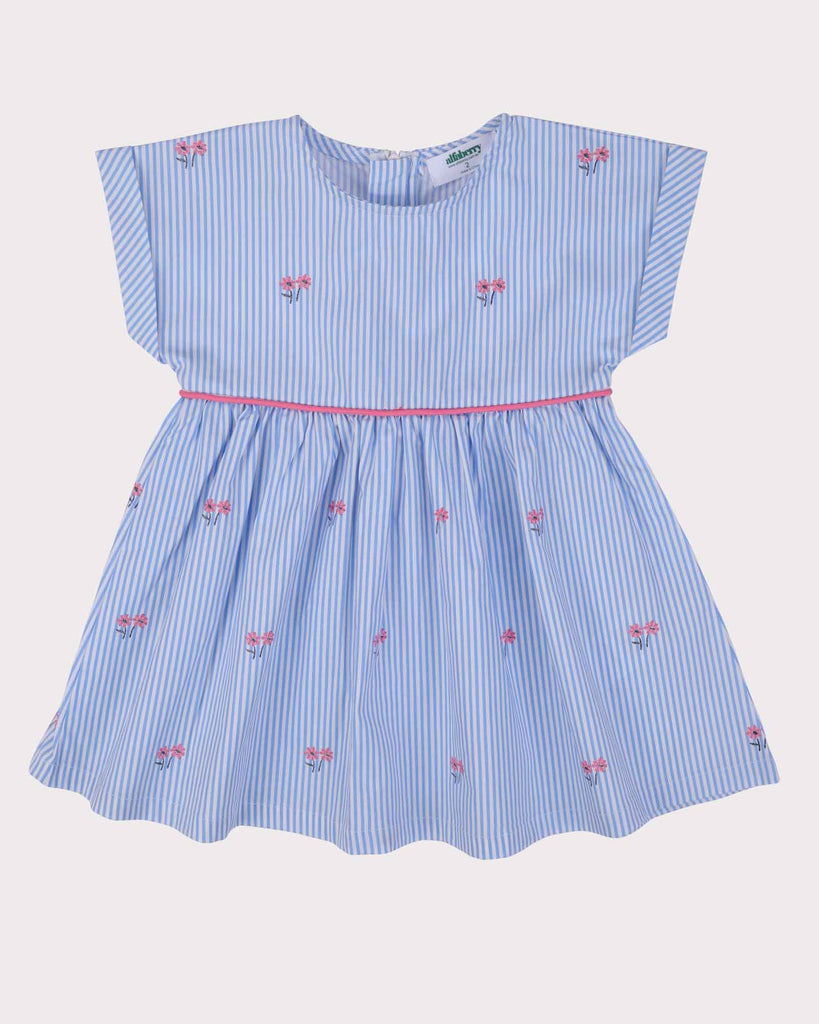 Posies Babydoll Dress in Blue Front