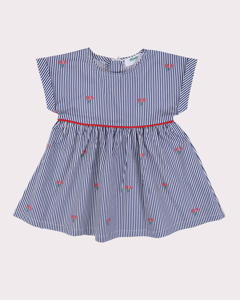 Posies Babydoll Dress in Navy Front