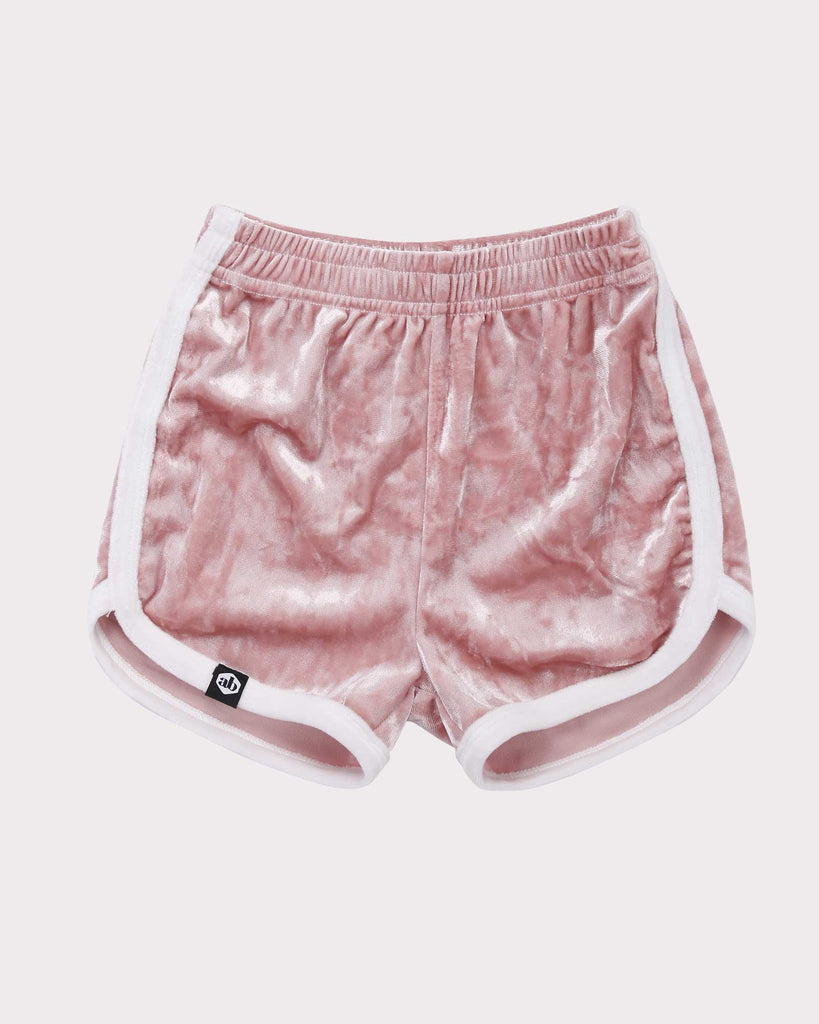 Luxe Velvet Short in Pink and White front