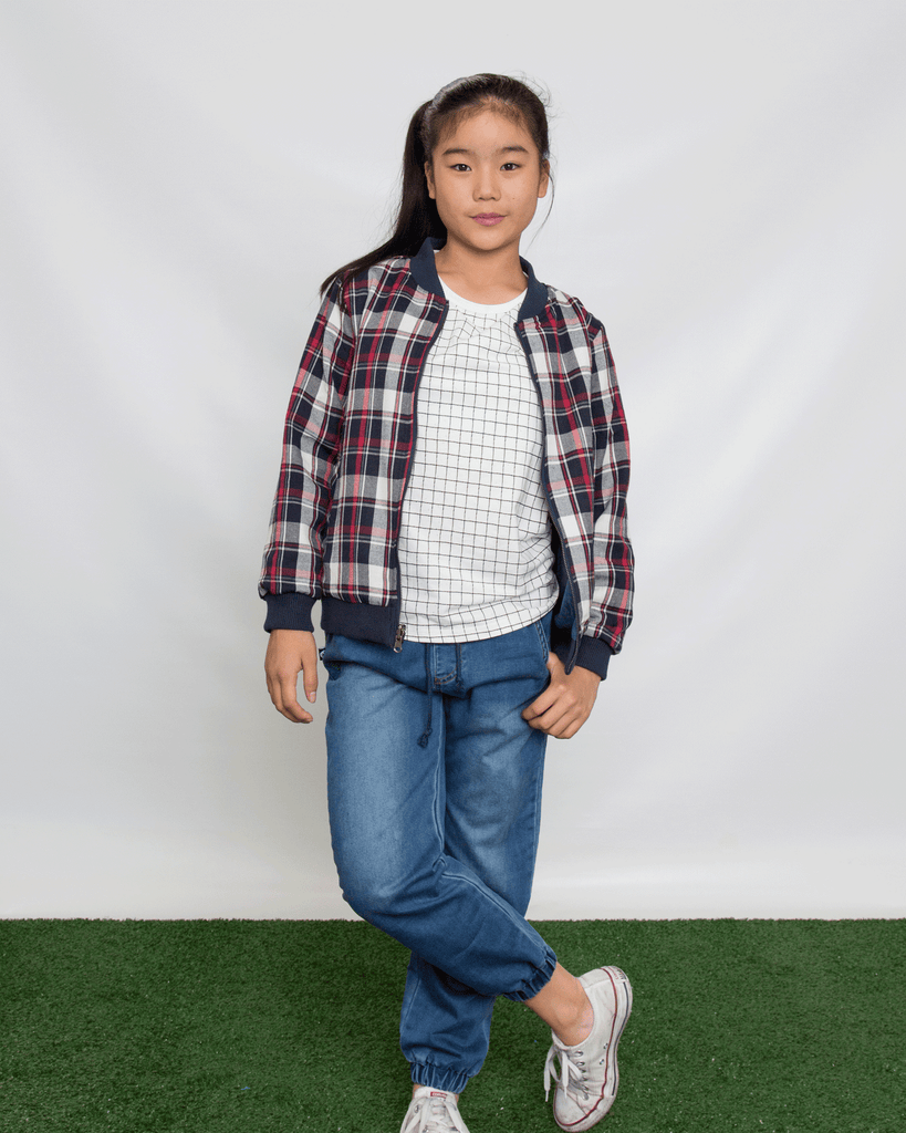 Reversible Denim and Tartan Bomber on Model