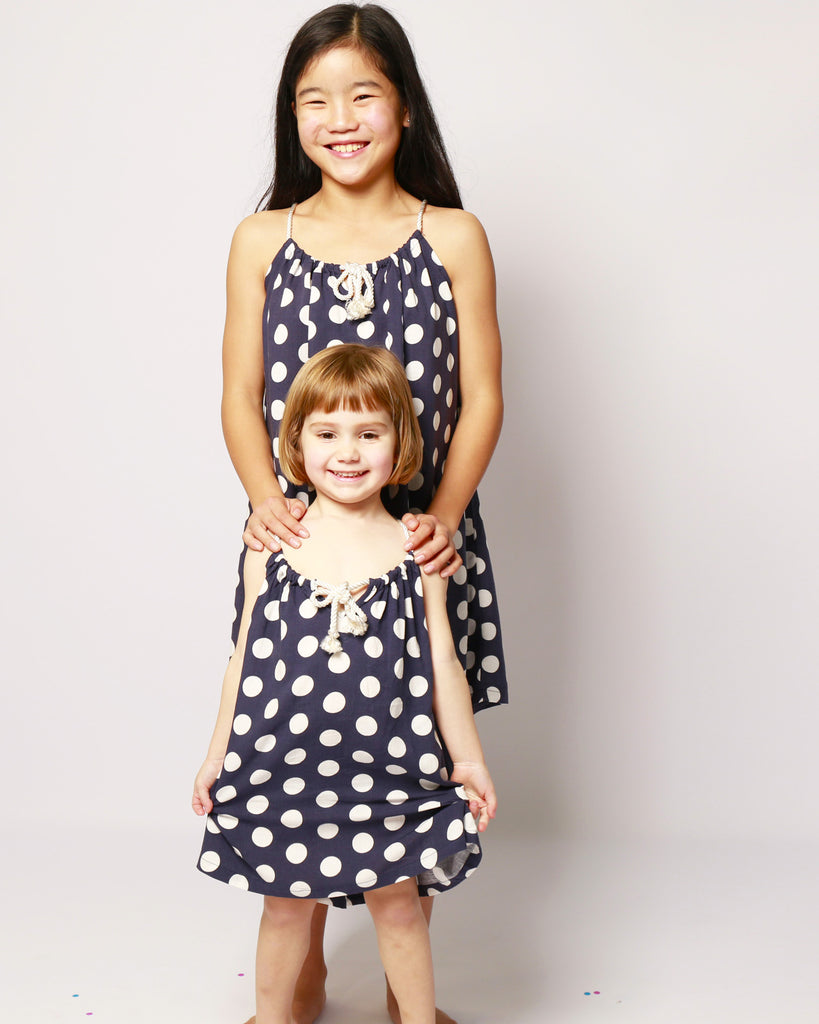 Rope Dress Polka Dot Navy on Model