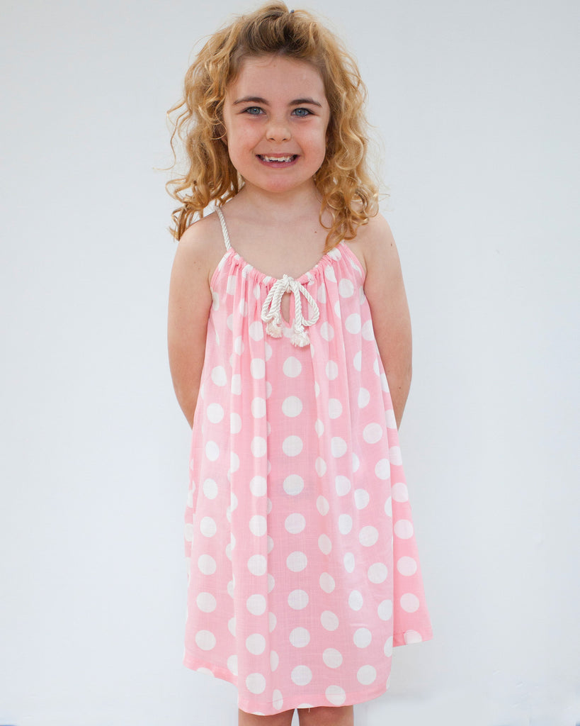 Rope Dress Polka Dot Pink on Model