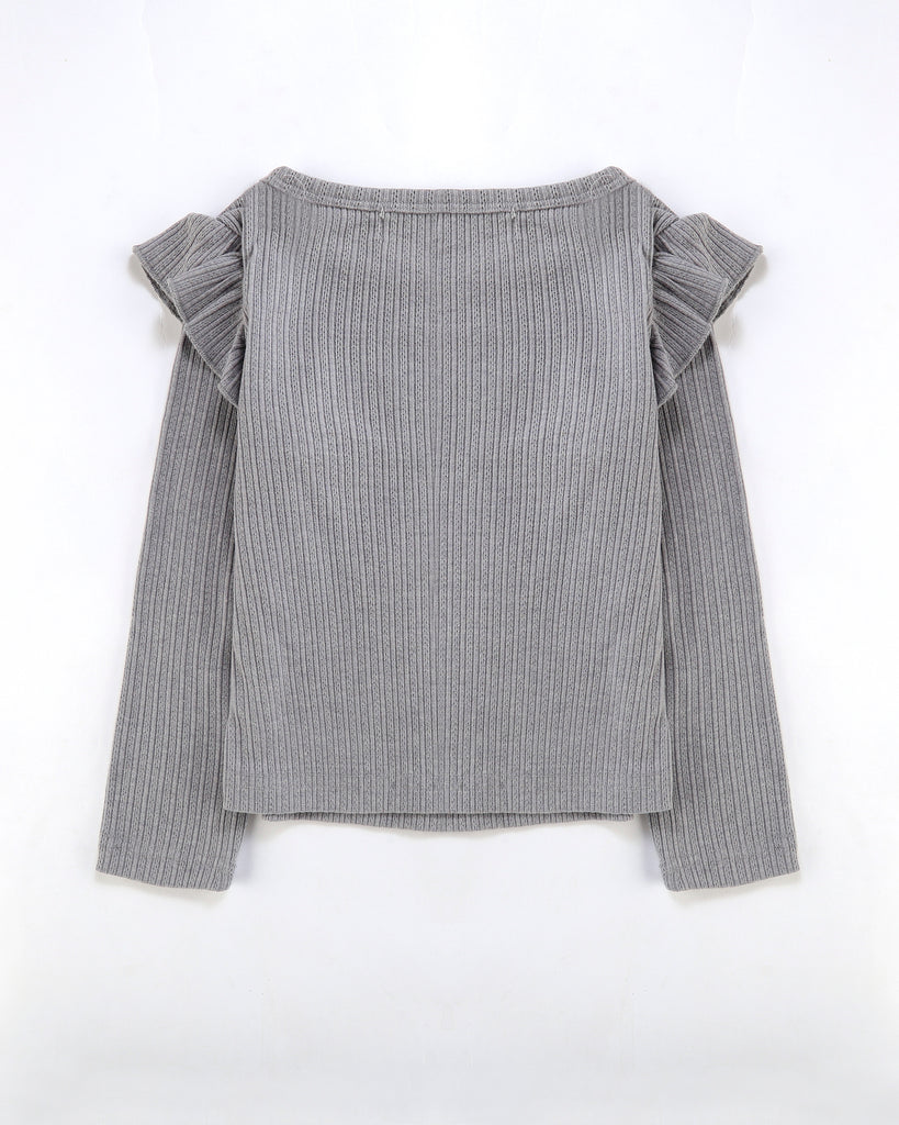 Flutter Long Sleeve Top Ribbed in Storm Grey Back