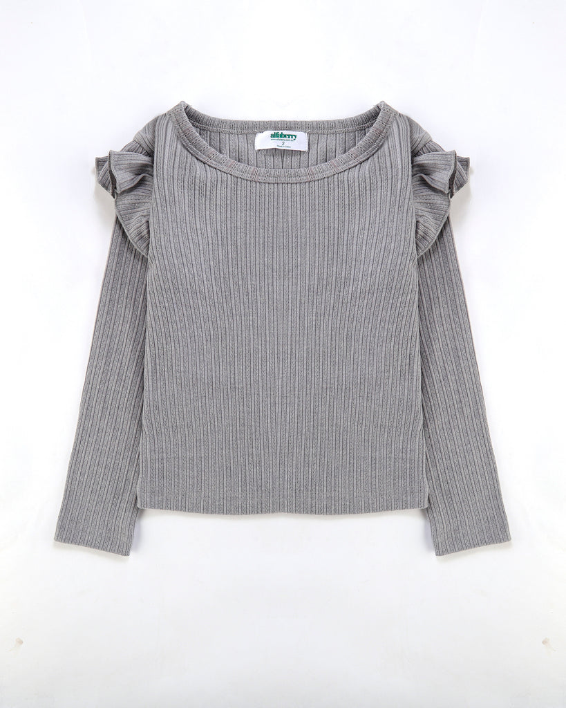 Flutter Long Sleeve Top Ribbed in Storm Grey Front