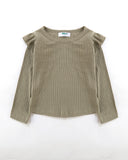 Flutter Long Sleeve Top Ribbed in Olive Front