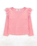 Flutter Long Sleeve Top Ribbed in Pink Front