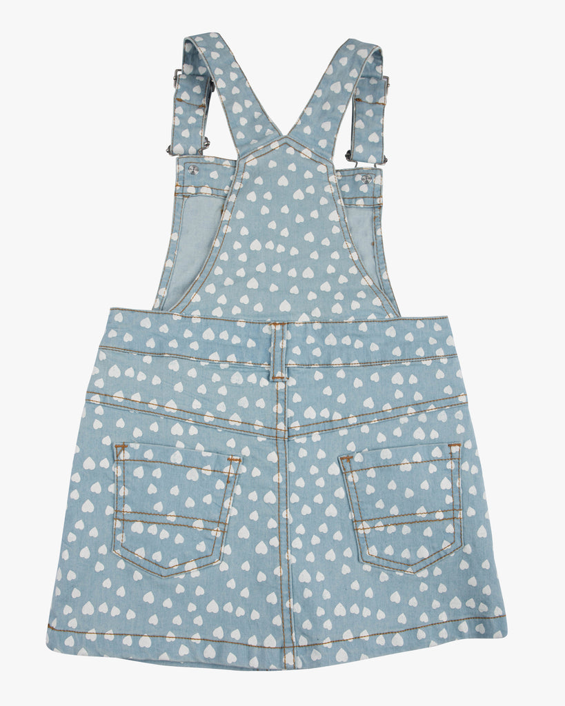 Dungaree Sweet Heart Dress White Hearts Back
