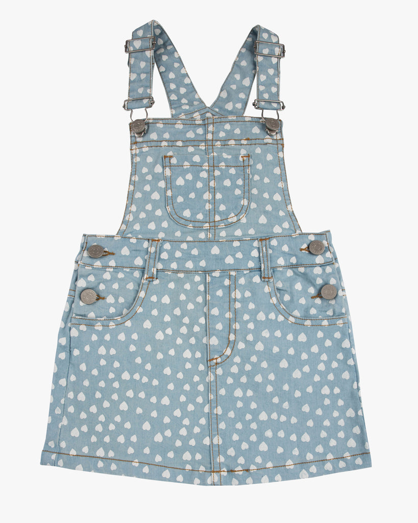 Dungaree Sweet Heart Dress White Hearts Front