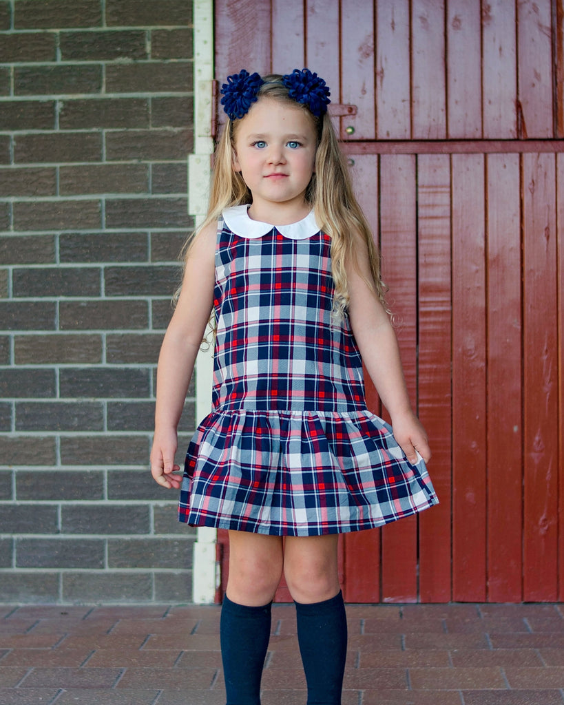 Tartan Peter Pan Drop Waist Dress on Model