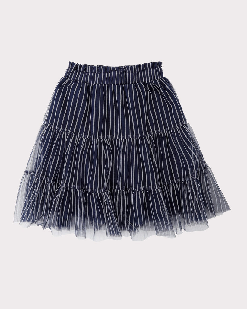 Tiered Tulle Skirt In Navy and Silver Trims Front
