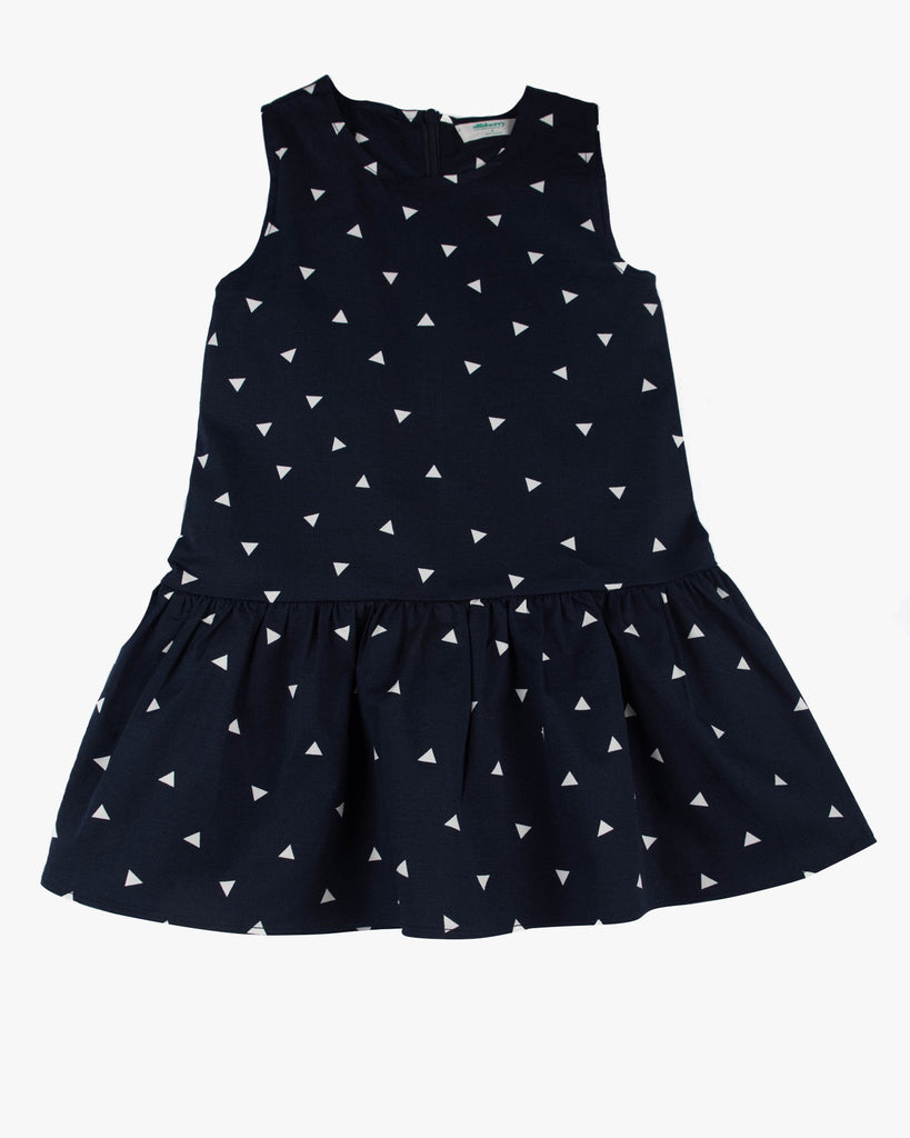 Triangle Confetti Drop Waist Dress navy