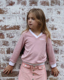 Vintage V-Neck Jumper in Pink
