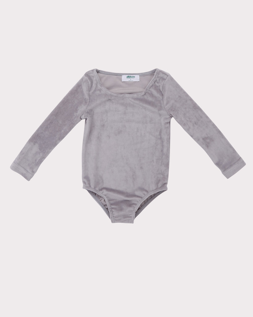 Velour Bodysuit in Silver Front