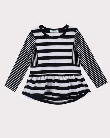 High Notes Fleece Dress in Black Stripes