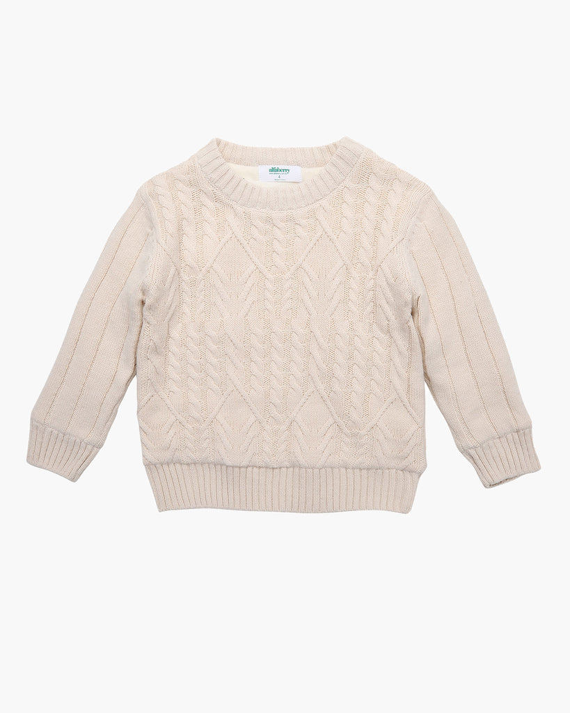 Cosy Cable Knit Jumper in Ivory Front
